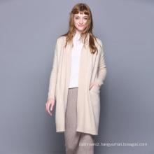 Women cashmere woolen coat no buttons turn-down collar new design fashion knitting winter long overcoat