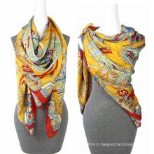 Fashion Printing chiffon 100 soie foulard carré satiné Scarabée carrée