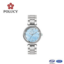 Dial azul zafiro cristal todo acero inoxidable nuevo diseño niñas reloj