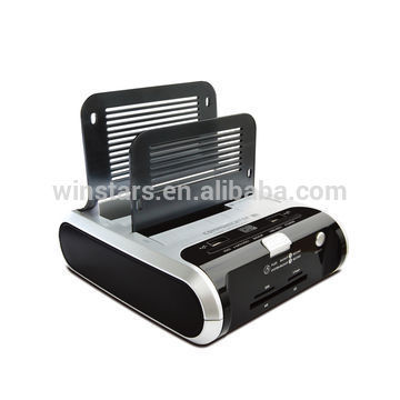 Usb 2.0 Dual HDD Docking with USB+e-SATA+HUB+Cardreader+Bluetooth+ Wireless