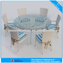 Restaurant outdoor furniture wicker garden round rattan dining set
