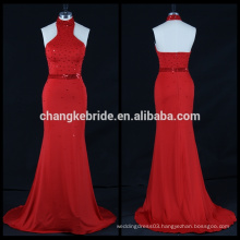 Elegant Red Beaded Sequins Mermaid Evening Dress Halter Long Party Dress