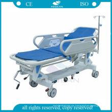 AG-HS002 Krankenhaus stabile manuelle Krankenwagen Krankenhaus Bahren für Patienten mit Matratze