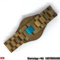 Top-Qualität grün Sandelholz Uhr Quarz Uhren hl03