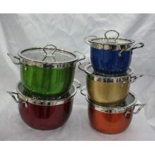 Набор посуды из нержавеющей стали с антипригарным покрытием / Кухонная посуда из нержавеющей стали
