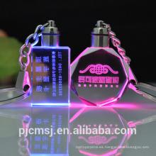 llavero cristalino ligero de la venta al por mayor de la fábrica LED con el registro modificado para requisitos particulares para el regalo promocional
