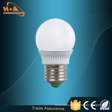Luz de bulbo luminosa do diodo emissor de luz da eficiência 3W E27 de 120 graus
