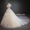 Luxus aus der Schulter Spitze Blume Hochzeitskleid Ballkleid mit großen Schwanz