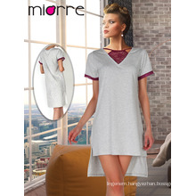 Miorre OEM New Season Elegant Lace Embroideries Detailed Combed Cotton Women Nightgown