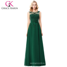 Grace Karin sin mangas V-Back verde oscuro vestido de fiesta de gasa CL007555-8