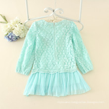 casual mint baby girls lace dress full sleeve children soft plicated skirts girls lovely clothes wholesale autumn garments