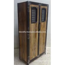 Industrial Urban Loft Wooden Metal Wardrobe