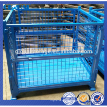 steel wire mesh stackable folding container /metal collapsible container