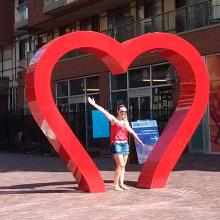 heiße rostfreie große rote Herzskulpturen des Verkaufs im Freien für Garten