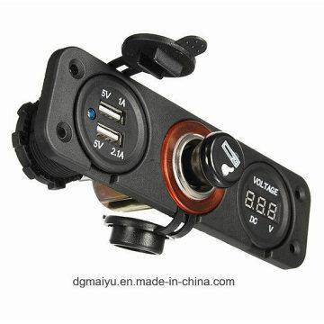 New! Three Hole Panel DC12V Power Socket Dual USB 2 Port Car DC Volt Digital Voltmeter
