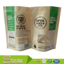 Moisture Proof Custom Printed Zip Lock Packaging Brown Kraft Paper Sealable See Through Paper Bags With Window