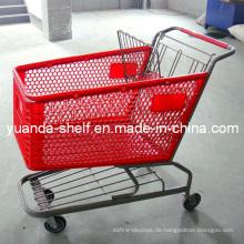 Supermarkt-faltende Plastikeinkaufskorb-Laufkatze