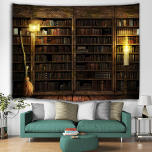 Regał Tło Tapestry Vintage Bookrack Library Wall Hanging College Study Room Gobeliny Wall Art for Bedroom Livingroom