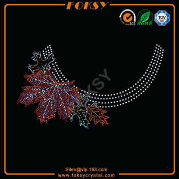 Customized for Necklace Hotfix Rhinestone Design Maple Leaves Collar iron on wholesale designs supply to Netherlands Factories