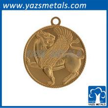 Médaille de médaille de porte-clés de conception gratuite personnalisée avec placage en or
