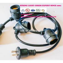 Luzes de corda ao ar livre à prova de intempéries - UL listado - 15 soquetes de suspensão - luzes de pátio perfeito