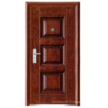 Nouveau panneau de conception Walnut Color Steel Security Door