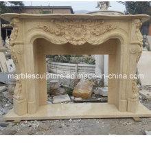 Beige Flower Surround Marble Fireplace Mantel (SY-MF047)