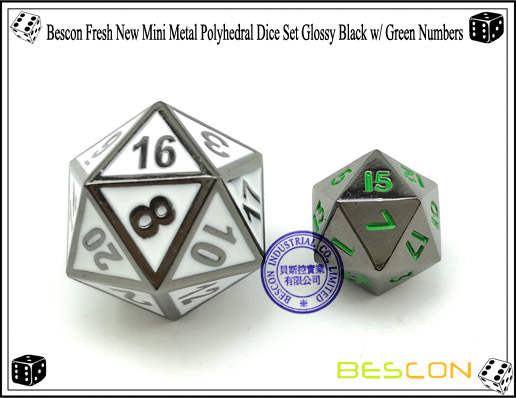 Bescon Fresh New Mini Metal Polyhedral Dice Set Glossy Black with Green Numbers-2
