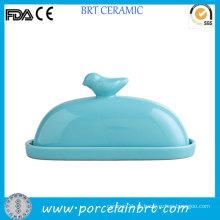 Bird on Lid Prato de Manteiga de Cerâmica Decorativa