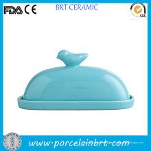 Pájaro en tapa mantequilla cerámica decorativa plato
