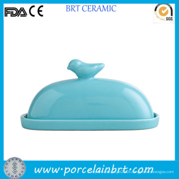 Bird on Lid Decorative Ceramic Butter Dish