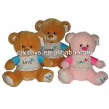 25 cm best-seller urso de pelúcia valentine em castanho claro Clad brinquedos de pelúcia urso de pelúcia com LOGO bordado