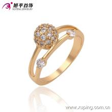 13534 Fashion Women Elegant Zircon 18k anillo de dedo de la joyería de imitación chapado en oro en aleación de cobre