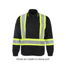 Long Sleeve 100% Polyester Birdeye Mesh High Vsibility Reflective Safety T-Shirt