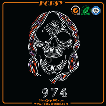 Pirate Skull wholesale iron on rhinestone appliques