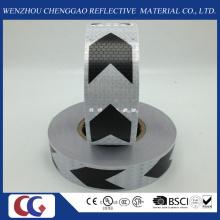 Ruban réfléchissant de PVC noir et blanc de flèche avec le treillis en cristal