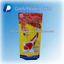 Fischfutterverpackungsbeutel / bunte Tiernahrungsreißverschlussoberseite stehen oben Verpackentasche