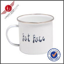 Plain Traditional Wholesale Enamel Cups Mugs with Stainless Steel Rim