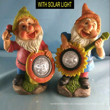 Musik spielen Solar beleuchtete Polyresin Zwerg für Gartendekoration