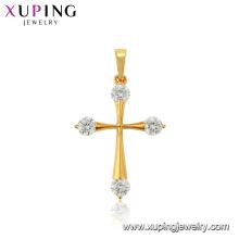33734 xuping jewelry 24k gold plated gemstone fashion cross pendant