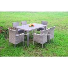 Mesa de jantar e cadeira de vime ao ar livre do Rattan do jardim