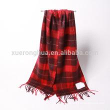 100% cachecol de caxemira puro em cor vermelha xadrez para inverno