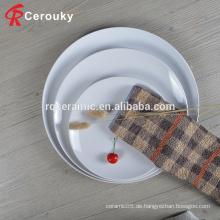 Werbe-benutzerdefinierte gedruckte weiße Restaurant Hochzeit Porzellan Keramik Abendessen Platte