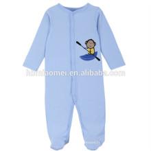 2017 en gros bébé vêtements barboteuse 100% coton à manches longues bleu couleur singe personnaliser bébé barboteuse