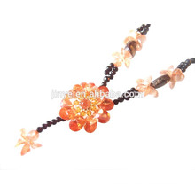 Cold Vintage Zirconia Flowr Pendant Gemstone Beaded Necklace