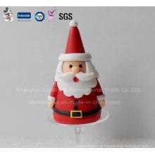 Santa Claus polímero com Holder Decoração Bolo de Natal