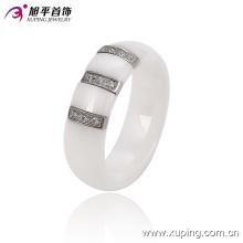 Mode femmes élégant ronde bijoux en acier inoxydable bague en céramique -13744