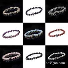 Hematite 8MM Bead Lion-Head Gemstone Bracelet
