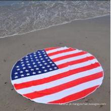 Toalha de praia redonda com bandeira americana impressa