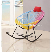 Outdoor colorful round rattan rocking egg shaped chair baby rocking chair
